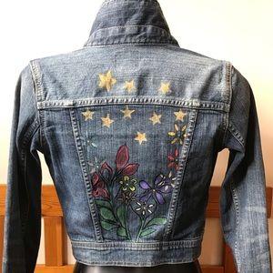 Girls Gap Kids Hand Painted Denim Jacket L